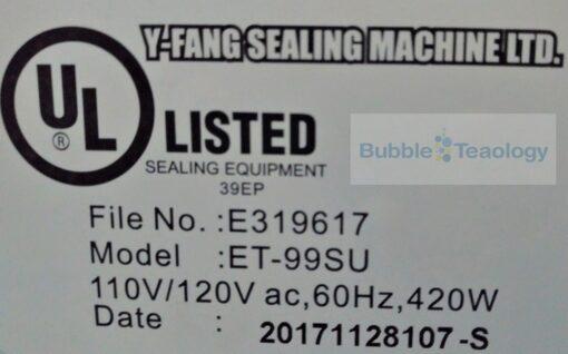 Sealer Machine UL- BubbleTeaology