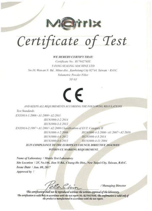 YF8J Powder Dispenser CE Certificate