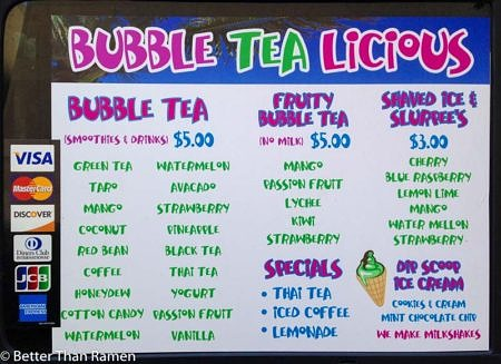 Bubble Tea food truck menu