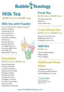 sample bubble tea menu