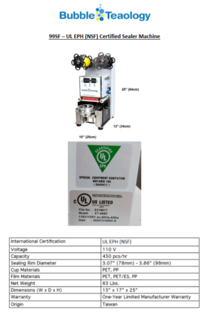 Bubble Tea Machine Specifications – Spec Sheets
