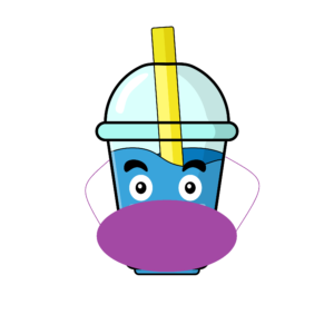 boba tea cup with mask